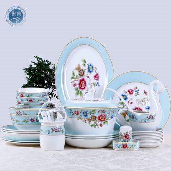 DF-01景德镇陶瓷 新中式碗碟套装罗马假日可微波炉6-10人家用58头创意陶瓷餐具送礼
