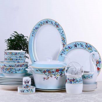 DF-02 景德镇餐具套装58头碗盘组合新中式盘子家用饭碗碟套装 春暖花开