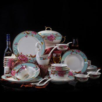 HY-02景德镇陶瓷欧式金边晨花鸟雀高档奢华碗盘碟简约家用58头餐具套装