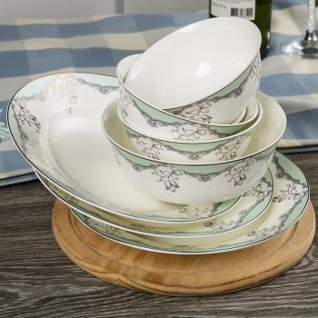 JFY-02景德镇陶瓷骨瓷餐具碗碟套装家用组合碗盘56头欧式丽人风尚