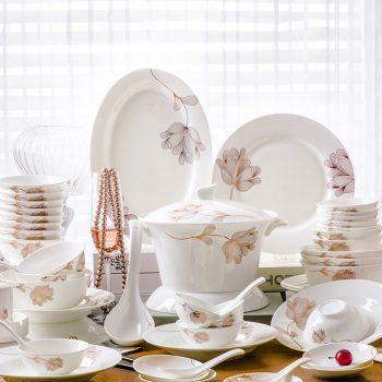 JFY-07景德镇碗碟套装家用28/56头骨瓷餐具陶瓷碗盘子汤碗碟子天使之心