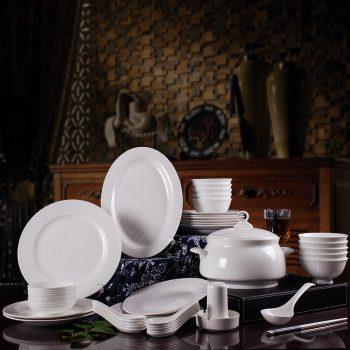 JFY-12景德镇中式高档送礼家用碗盘碟餐具套装56头骨瓷扒花浮雕缠枝莲