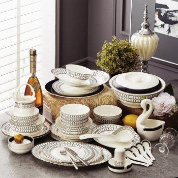 JFY-13景德镇陶瓷骨瓷餐具套装碗碟中式碗盘碗筷套碗结婚礼品华尔兹60头