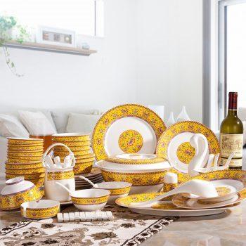 JFY-05景德镇骨瓷56/60头餐具家用小清晰碗盘套装结婚送礼帝王黄缠枝莲