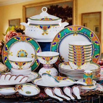MJ-003景德镇陶瓷餐具中式碗碟套装家用骨瓷餐具碗盘结婚送礼56头绿富贵
