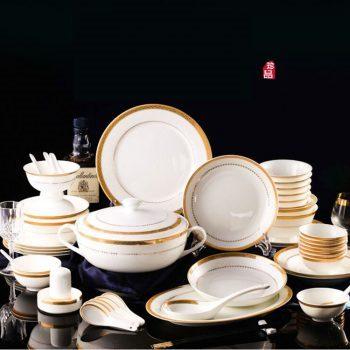 MJ-004景德镇陶瓷 中式礼品陶瓷餐具套装骨质瓷碗盘餐具套装60头罗曼尼