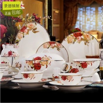 MJ-006景德镇陶瓷餐具套装高档骨瓷餐具高脚碗盘碟餐具套装60头欧亚风情