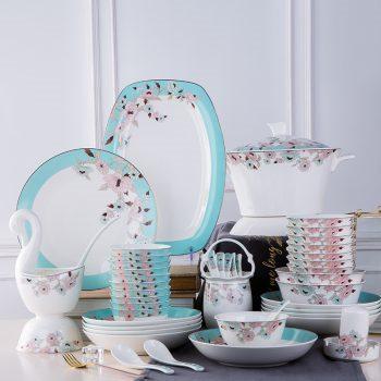 MJ-007景德镇陶瓷餐具套装碗碟骨瓷中式家用饭碗组合送礼28/56/60头景色