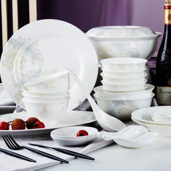 PUKOO-200景德镇骨瓷56头餐具家用中式小清晰碗盘筷套装结婚送礼清雅名媛