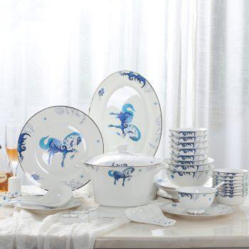 PUKOO-202景德镇家用碗碟套装碗盘子58头餐具套装青花天马行空珐琅彩陶瓷
