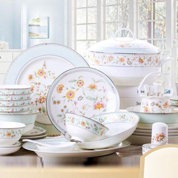 PUKOO-204景德镇碗碟套装家用欧式58头花开海棠骨瓷餐具碗盘筷碟创意送礼