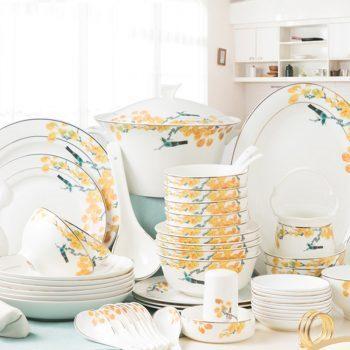 PUKOO-206景德镇餐具套装碗碟套装58头馨雅家用陶瓷碗欧式骨瓷碗筷盘子创意