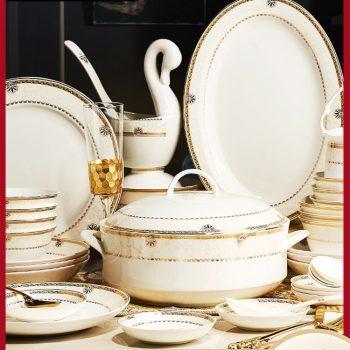 PUKOO-207景德镇骨瓷餐具碗碟套装56头60头慕斯中式创意碗盘家用组合送礼