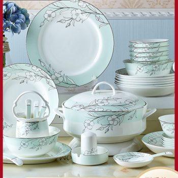 PUKOO-208景德镇陶瓷餐具套装欧式碗碟套装家用58头碧玉骨瓷碗盘清新送礼