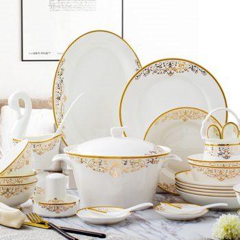 PUKOO-209景德镇骨瓷餐具碗碟套装家用58头相思欧式盘筷碟组合中式创意送礼
