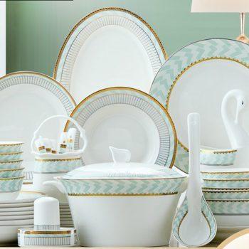 PUKOO-211景德镇欧式骨瓷餐具中式家用碗盘筷碟清新创意送礼58头素雨轻漫