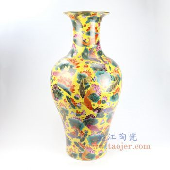 RYRK24-景德镇陶瓷 黄底手绘粉彩鱼草荷花鱼尾瓶