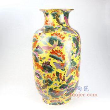 RYRK25-景德镇陶瓷 黄底手绘粉彩鱼草荷花冬瓜瓶