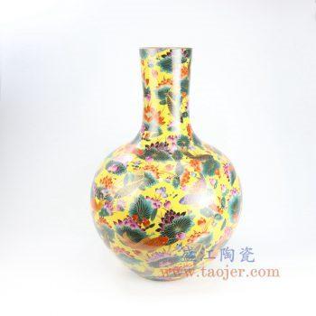 RYRK26-景德镇陶瓷 黄底手绘粉彩鱼草荷花天球瓶