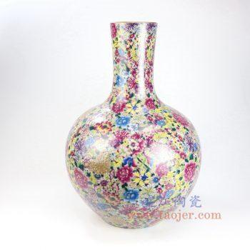 RYRK27-景德镇陶瓷 仿清万花不落地重工粉彩天球瓶