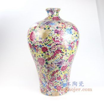 RYRK28-A-景德镇陶瓷 仿清万花不落地重工粉彩梅瓶