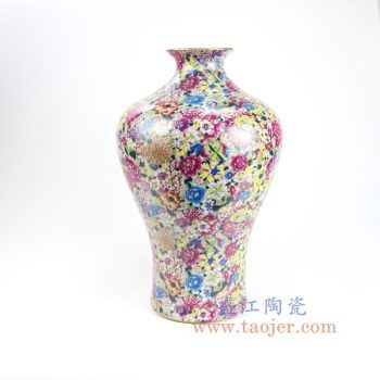 RYRK28-B-景德镇陶瓷 仿清万花不落地重工粉彩鱼尾瓶