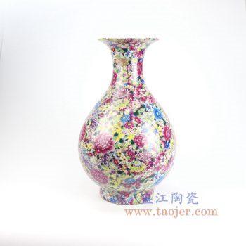 RYRK29-景德镇陶瓷 仿清万花不落地重工粉彩玉壶春瓶