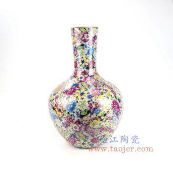 RYRK30-景德镇陶瓷 仿清万花不落地重工粉彩天球瓶