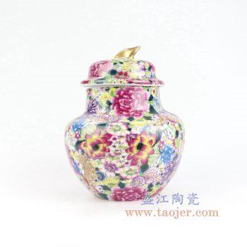 RYRK32-景德镇陶瓷 仿清万花不落地重工粉彩盖罐