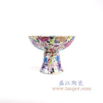 RYRK33-景德镇陶瓷 仿清粉彩万花不描金高足果盘贡盘 古董古玩
