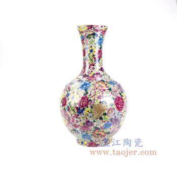 RYRK34景德镇陶瓷 仿清万花不落地重工粉彩花插花瓶