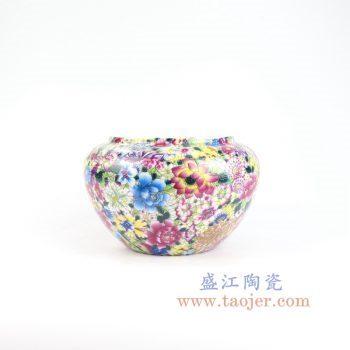 RYRK35-景德镇陶瓷 仿清万花不落地重工粉彩陶瓷罐