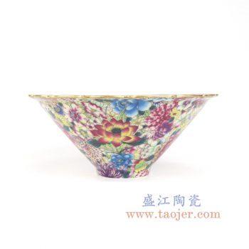 RYRK37-景德镇陶瓷 仿清万花不落地重工粉彩大碗