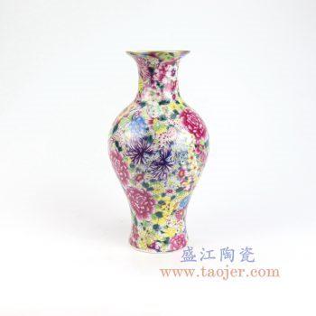 RYRK39-景德镇陶瓷 仿清万花不落地重工粉彩鱼尾瓶