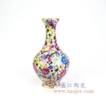 RYRK41-景德镇陶瓷 仿清万花不落地重工粉彩花插花瓶