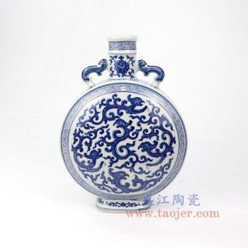 RYUU16-B-景德镇陶瓷 仿古手绘青花八宝扁瓶 抱月瓶
