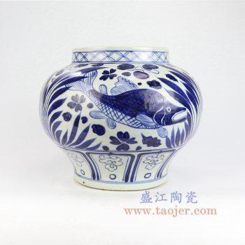 RZLQ03-景德镇陶瓷 元青花鱼藻纹罐古董古玩瓷器收藏
