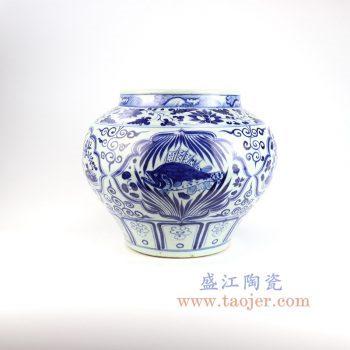 RZLQ04-景德镇陶瓷 元青花鱼草罐古董古玩瓷器收藏