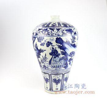 RZLQ05-景德镇陶瓷 元青花手工瓷萧何月下追韩信梅瓶 古玩古董收藏
