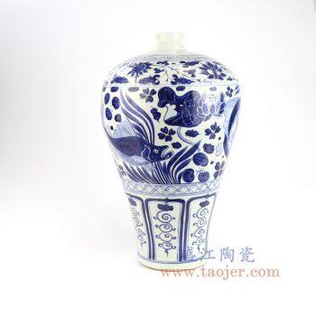 RZLQ06-景德镇陶瓷 元青花手工瓷鱼藻纹梅瓶 古玩古董收藏