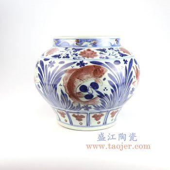 RZLQ07-景德镇陶瓷 元代青花矾红描金鱼藻纹大罐 古玩古董收藏
