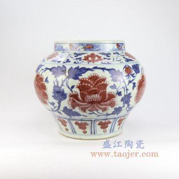 RZLQ08-景德镇陶瓷  元代青花釉里红缠枝莲花罐(白浒孤窑款) 古玩古董古瓷器