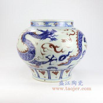 RZLQ09-景德镇陶瓷 元青花釉里红手绘云龙纹大罐摆件瓷器古玩收藏
