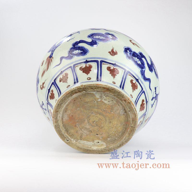 盛江陶瓷 元青花釉里红手绘云龙纹大罐摆件瓷器古玩收藏