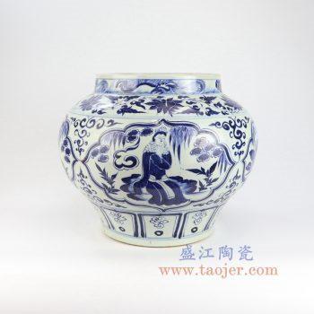 RZLQ10-景德镇陶瓷 元青花博陵第款开窗人物纹罐 古董古玩瓷器摆件