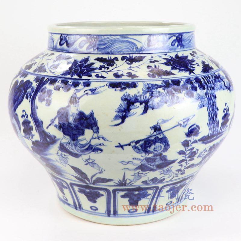 盛江陶瓷 元青花鬼谷子下山全手工精品仿古瓷器 收藏品 摆件