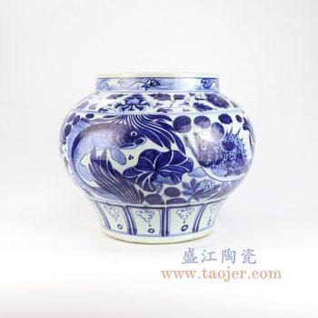 RZLQ12-景德镇陶瓷 手工手绘仿古 元青花鱼藻罐