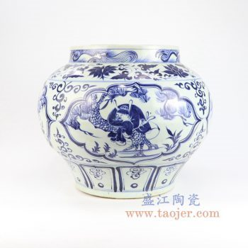 RZLQ13-景德镇陶瓷 元青花开窗人物纹罐 古董古玩瓷器摆件