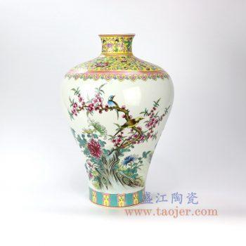 RZLS03-景德镇陶瓷 仿古纯手绘粉彩花鸟梅瓶 花插花瓶