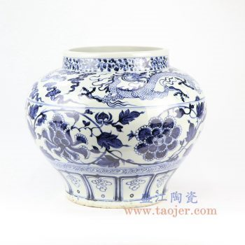 RZNI01-景德镇陶瓷 元青花云龙缠枝牡丹纹罐 古玩古董古瓷器老货收藏